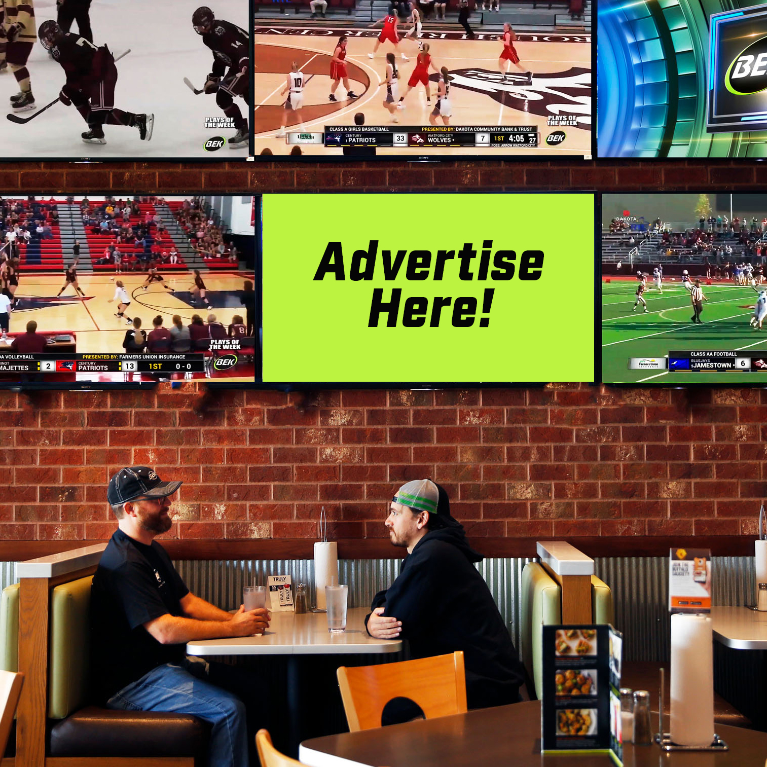"""Advertise Here!"" Shown on BEK TV screen with BEK TV Broadcasting sports games previewing around it."