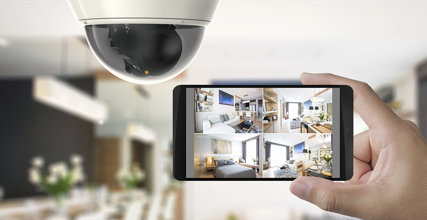 Home security camera with footage on mobile device