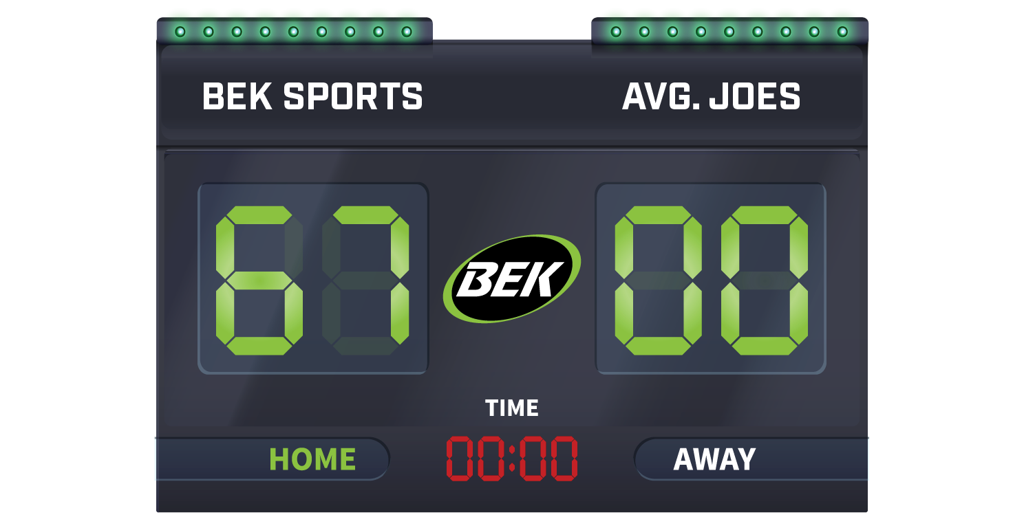BEK Sports vs Average Joes scoreboard