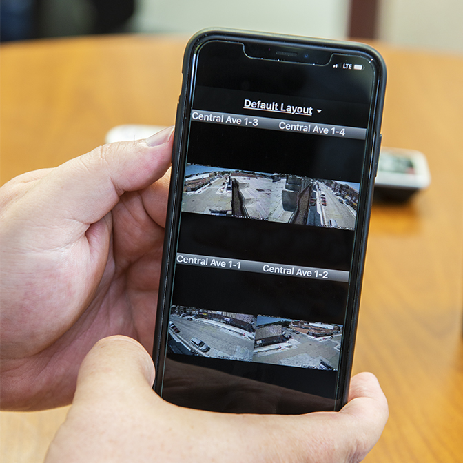 Viewing surveillance cameras on mobile phone