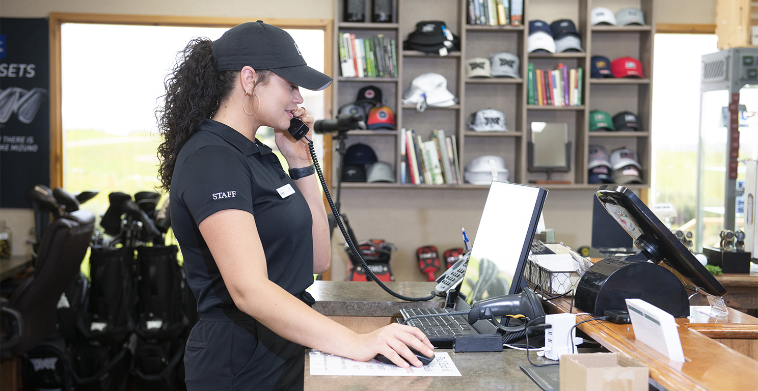 Business employee on crystal clear phone call through BEK Phone